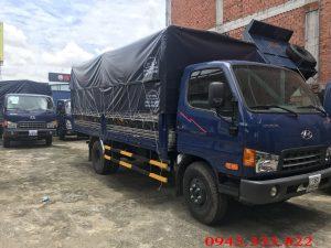 Xe tải Hyundai Mihgty 2017 thùng mui bạt màu xanh. Tải trọng xe mighty 2017: 7.8 tấn.